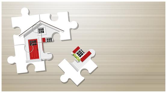 Dream House Concept With Puzzle House On Wooden Board Background Vector Illustration - Immagini vettoriali stock e altre immagini di Architettura