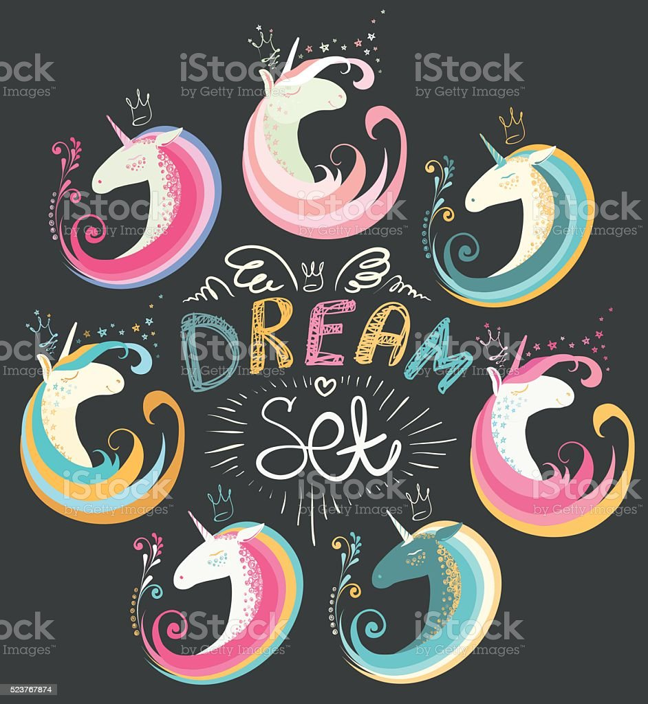 Dream set of unicorns and decorative elements. vector art illustration