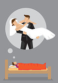 Dream Wedding Vector Cartoon Illustration