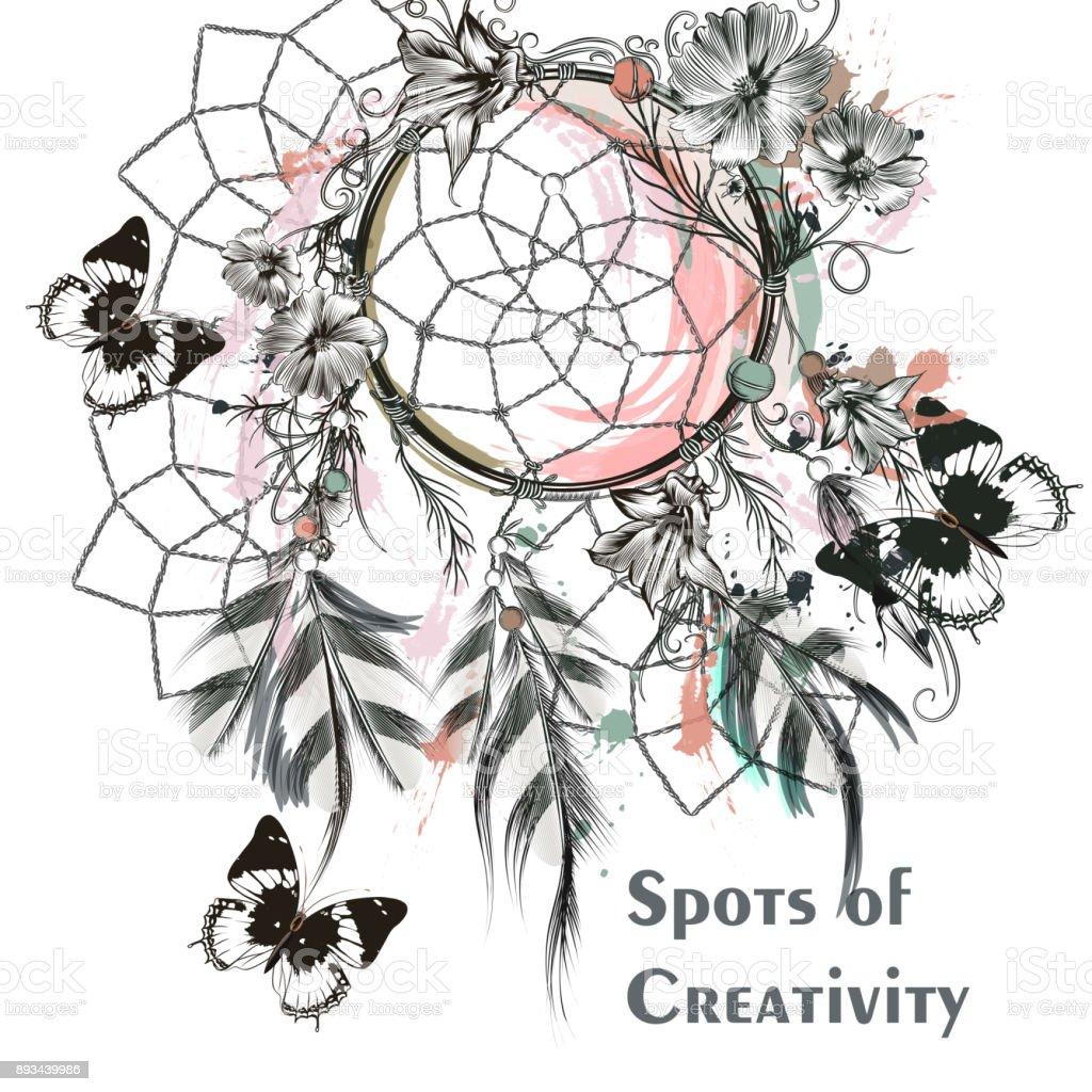 Dreamcatcher And Butterflies Symbol Of Creativity Stock Vector Art