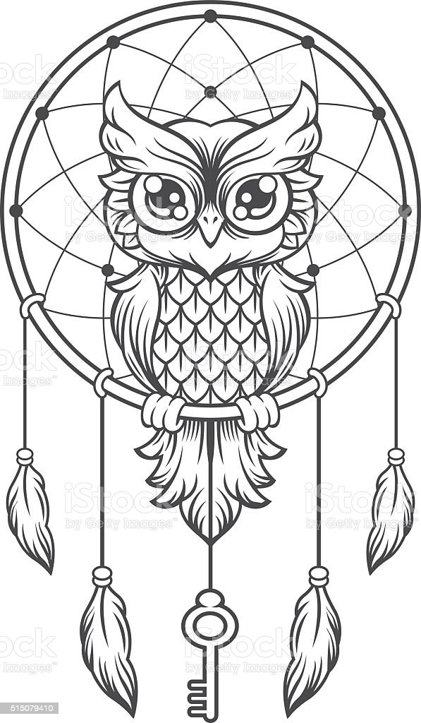 Dreamcatcher Black And White Owl Stock Illustration