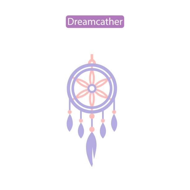 Dreamcatcher flat vector icon Dreamcatcher flat icon vector illustration. Indian tribal logo. Flat symbol for sleep problem nightmare protection. Design element for website brochure print media dreamcatcher stock illustrations