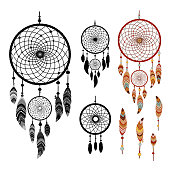 Dreamcatcher and feather isolated on white background. Native american indian dreamcatcher. Colorful and black logo vector illustration