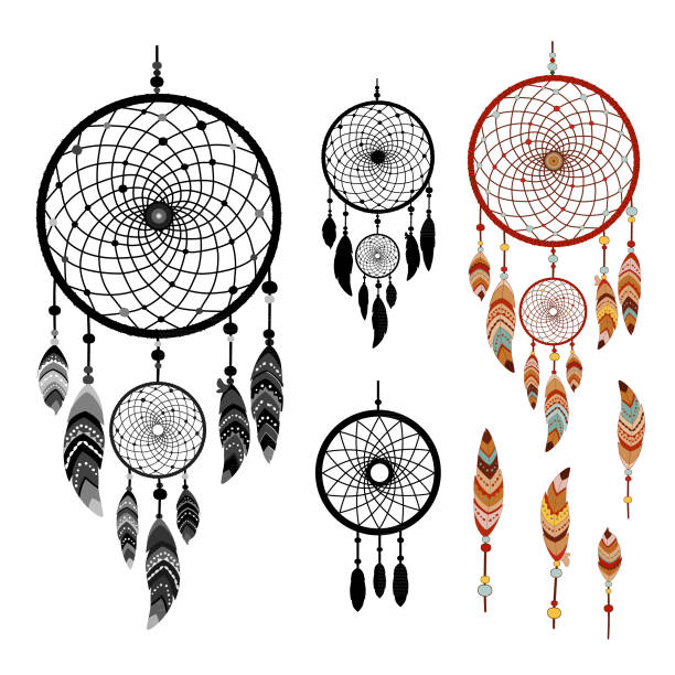 Dreamcatcher isolated on white background Dreamcatcher and feather isolated on white background. Native american indian dreamcatcher. Colorful and black logo vector illustration dreamcatcher stock illustrations