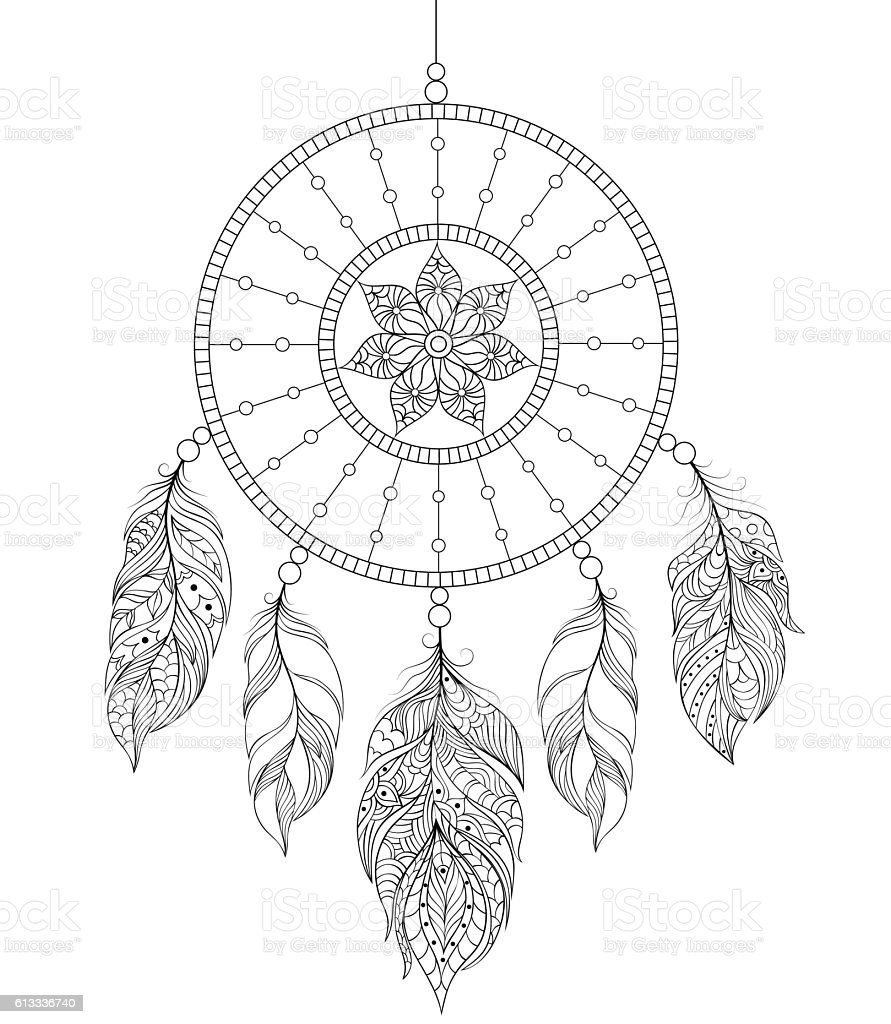 dreamcatcher on white background - Illustration vectorielle