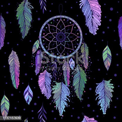 Dreamcatcher with colorful feathers seamless pattern. Ethnic tribal gypsy art with native American Indian boho design, mystery symbol. Vector background.