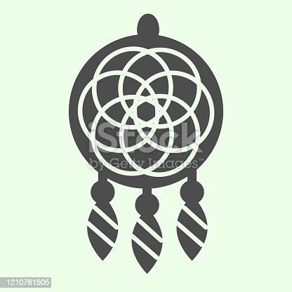 Dreamcatcher solid icon. Magic dream catcher in ethnic ornament glyph style pictogram on white background. Indian tribal protection talisman for mobile concept and web design. Vector graphics
