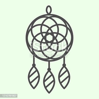 Dreamcatcher thin line icon. Magic dream catcher in ethnic ornament outline style pictogram on white background. Indian tribal protection talisman for mobile concept and web design. Vector graphics