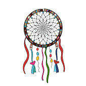 Dreamcatcher ornate with feathers. Boho style. Home interior. Sorcery, magic, ethnicity. Cartoon vector Doodle illustration