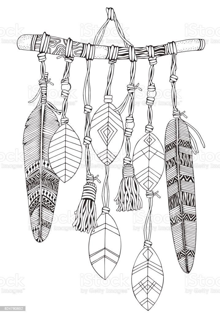 Ilustración De Atrapasueños Con Plumas Y Ramas Estilo De Doodle