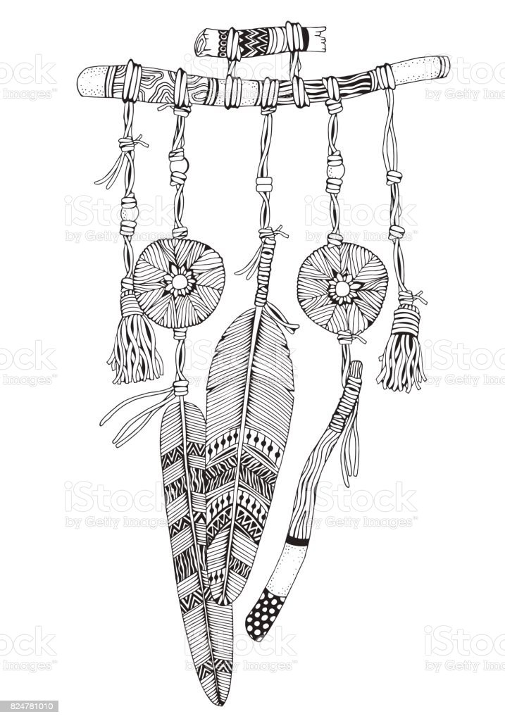 Dreamcatcher With Feathers And Branches Doodle Style Black White Hand Drawn Adult