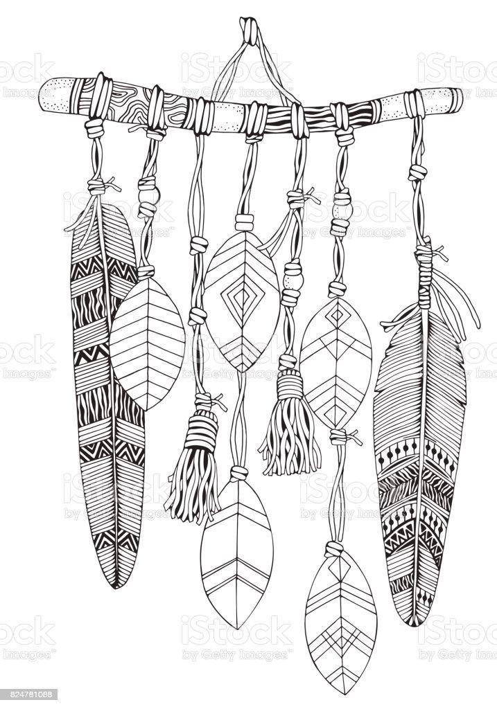 Dreamcatcher Tüyler Ve Dalları Ile Doodle Tarzı Siyah Ve Beyaz El