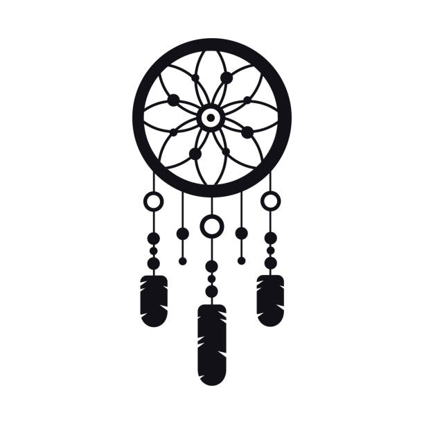 Dreamcatcher with Gemstones and Feathers. Ethnic Tribal Boho Dream Catcher Talisman. Dreamcatcher with Gemstones and Feathers. Ethnic Tribal Boho Dream Catcher Talisman dreamcatcher stock illustrations