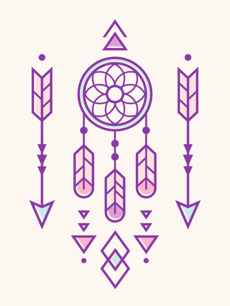Dreamcatcher with Native Indian ornament Dream catcher with Native American Indian ornament, geometric arrows and triangle elements. Trendy hipster style in pastel colors. Vector illustration. dreamcatcher stock illustrations