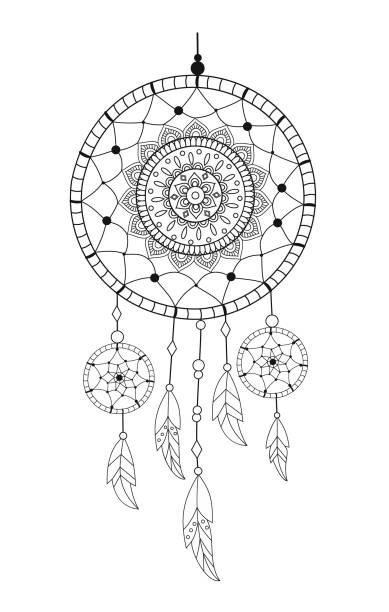 Dreamcatcher with precious stones and feathers. Ethnic vector illustration Dreamcatcher with precious stones and feathers. Ethnic vector illustration dreamcatcher stock illustrations