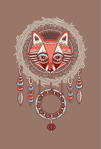 Dreamcatcher with red fox. Vector postcard