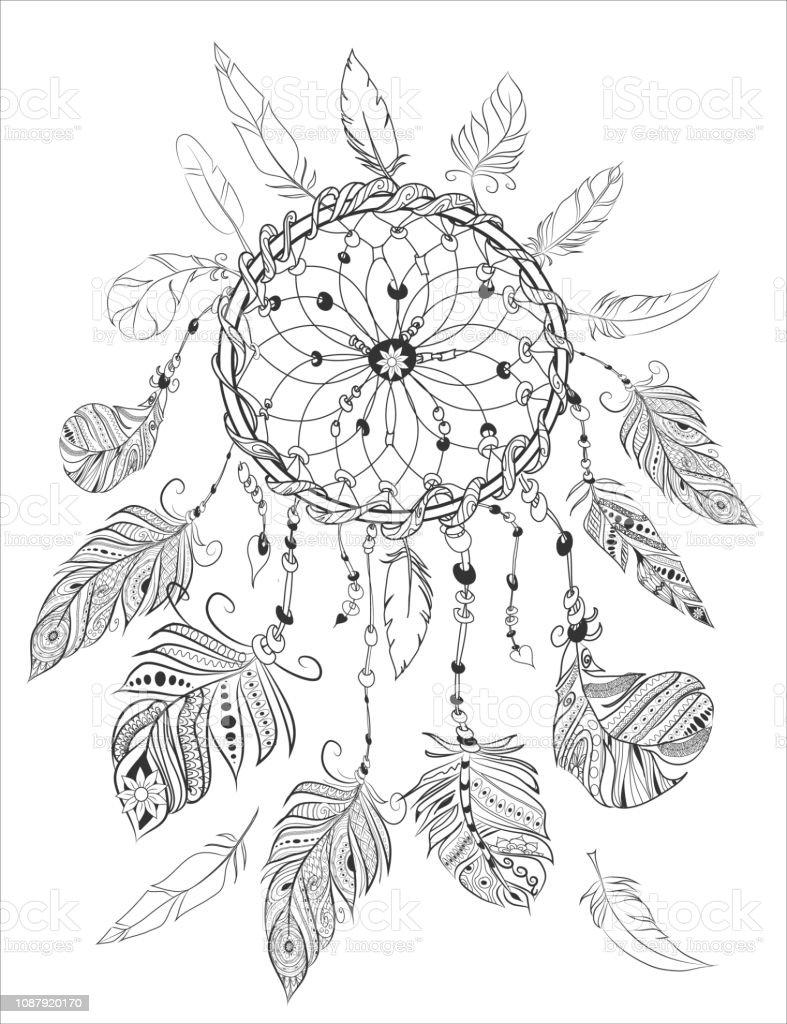 Dreamcather Für Erwachsene Malbuch Malvorlagen Ethnische Dekorative