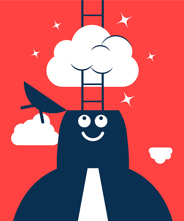 Businessman Characters Vector art illustration.Copy Space, Full Length. Dreamer, Businessman with opened head and ladder, having his head in the clouds.