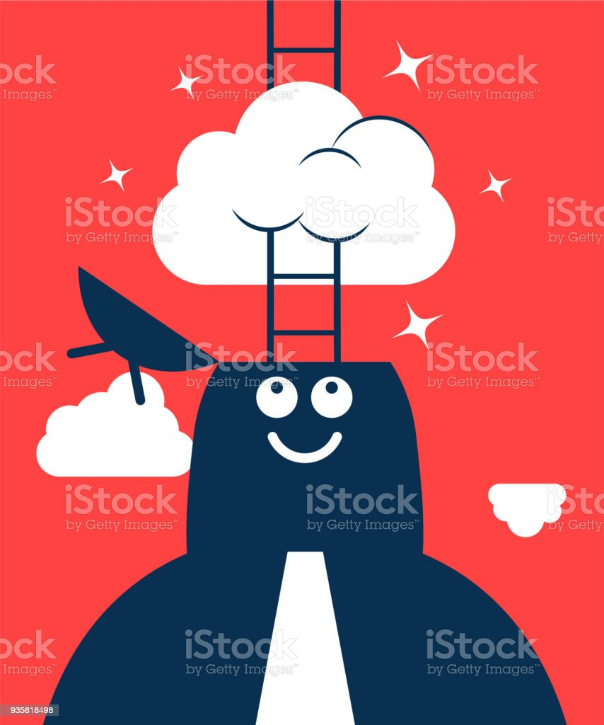 Dreamer, Businessman with opened head and ladder, having his head in the clouds vector art illustration