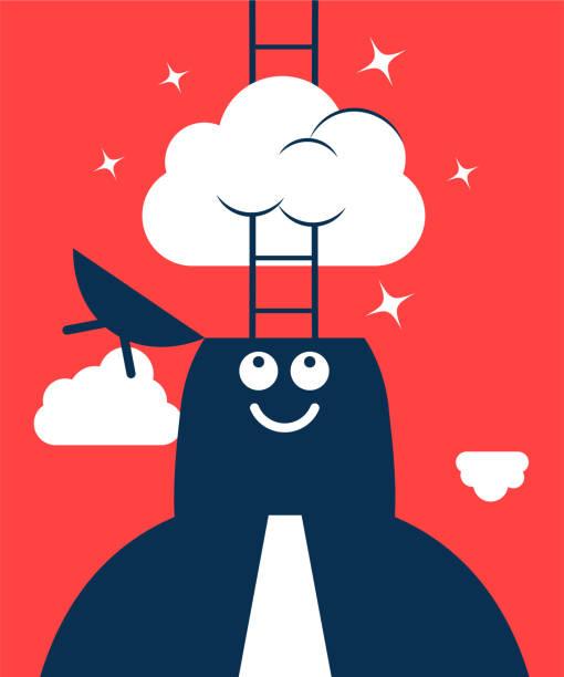 illustrazioni stock, clip art, cartoni animati e icone di tendenza di dreamer, businessman with opened head and ladder, having his head in the clouds - dream