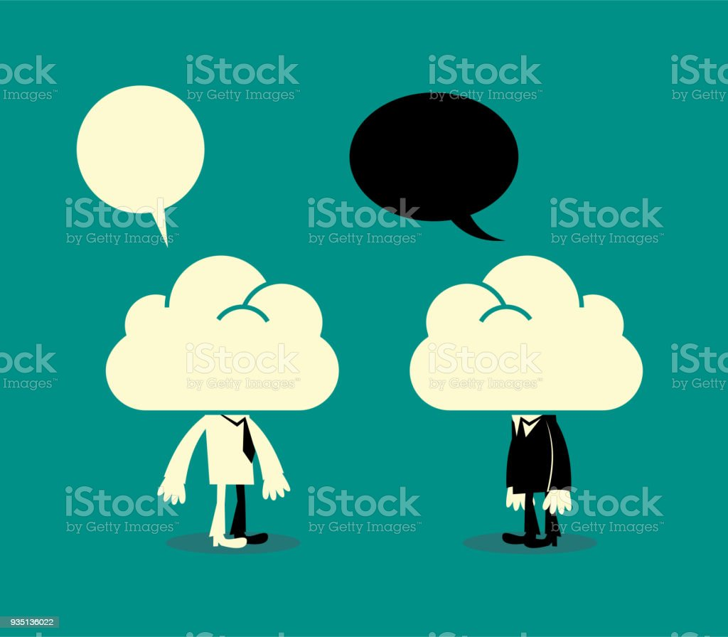Dreamers, two business men with their heads in the clouds, communicating vector art illustration