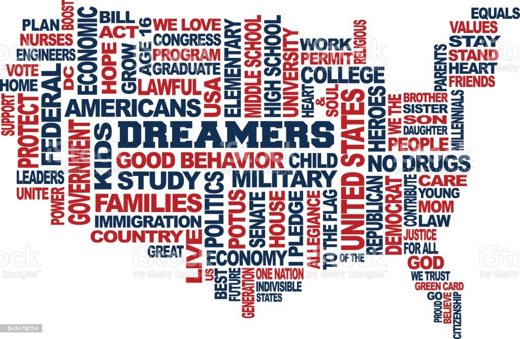 Dreamers USA Map Support Concept. Word Cloud Vector in White Background vector art illustration