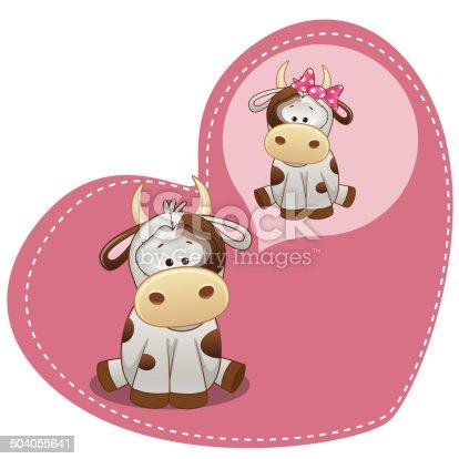 Greeting card Cute Dreaming Cow