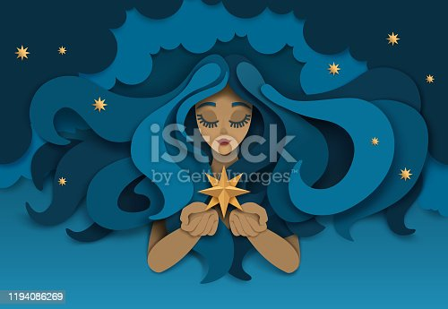 istock Dreaming girl with star, vector paper cut illustration 1194086269