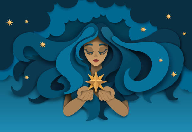 dreaming girl with star, vector paper cut illustration - bedtime story stock illustrations