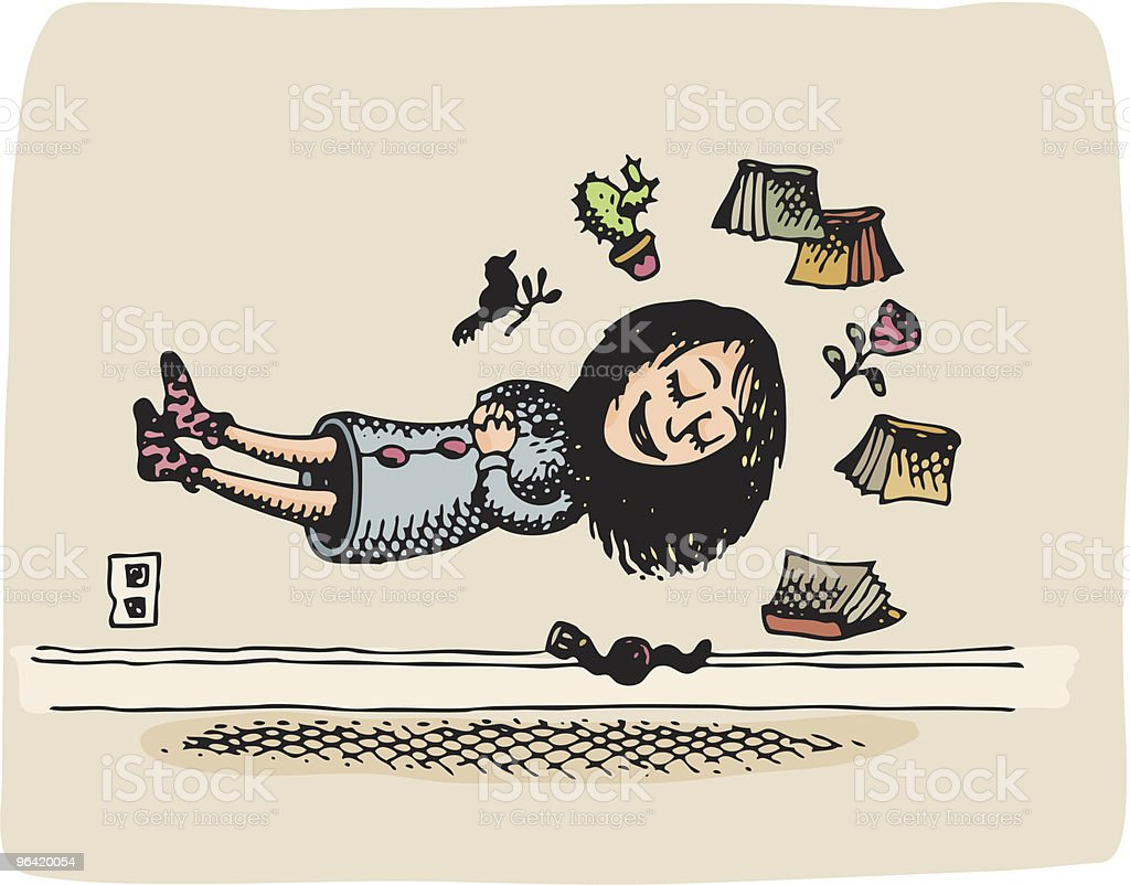 Dreaming Woman vector art illustration