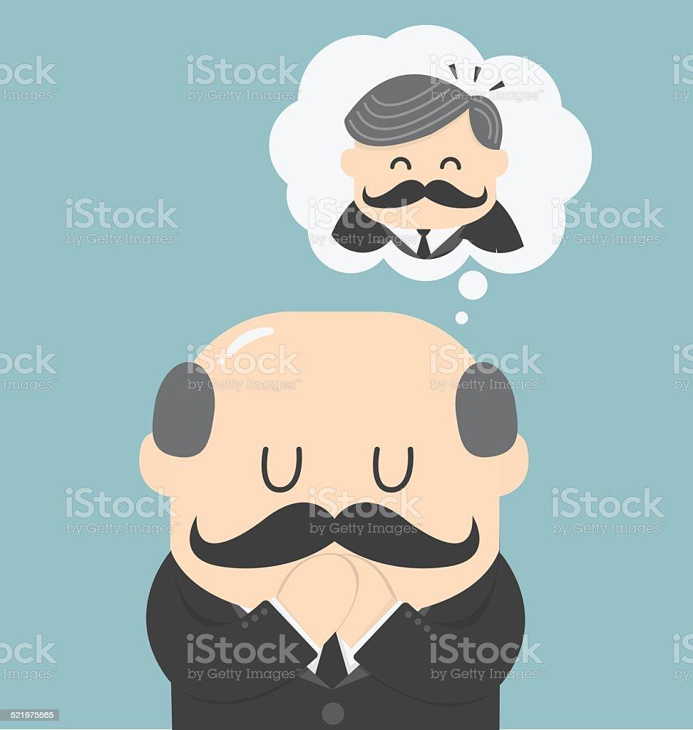 Dreams of bald men vector art illustration