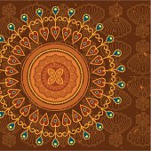 A multi-layered mandala with Indonesian-style batik motifs in the background. Grunge is removable. (includes .jpg)
