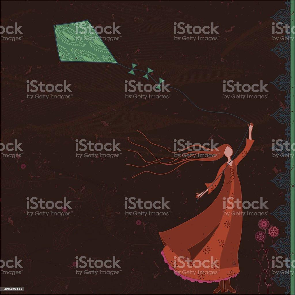 Dreamscape - Kite Flying vector art illustration