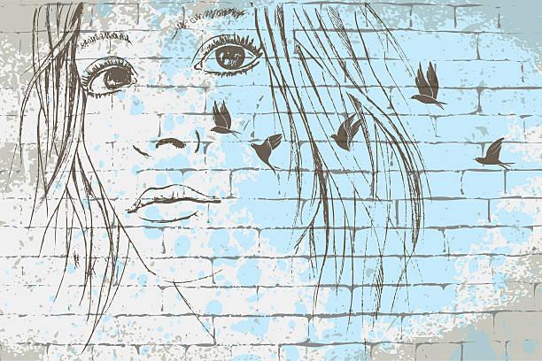 dreamy look graffiti - kindergesichtsfarben stock-grafiken, -clipart, -cartoons und -symbole