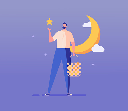 Dreamy man collecting stars in bag, standing near moon. Millennial guy dreaming and making wish. Concept of relaxation, dream visualization, dreaming, makes wishes. Vector illustration in flat design