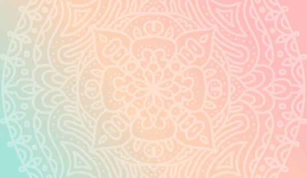 Dreamy tender gradient wallpaper with mandala pattern. Vector horizontal background for meditation poster, banner for yoga school Dreamy tender gradient wallpaper with mandala pattern. Vector horizontal background for meditation poster, banner for yoga school. yoga stock illustrations