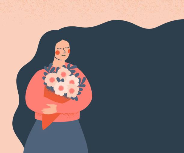 ilustrações, clipart, desenhos animados e ícones de mulher sonhadora que prende um ramalhete das flores. - woman happy