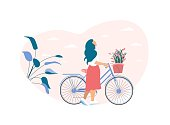 Dreamy Woman Rolls Bicycle with Flowers Basket Looking in Sky and Enjoying Weather. Romantic Spring Cartoon. Walking Outdoors. Greeting Season Card. Motivation Placard. Vector Flat Cutout Illustration