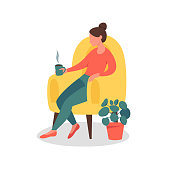 Dreamy Woman sitting in the chair At Home with a cup of tea or coffee. Vector illustration isolated from white