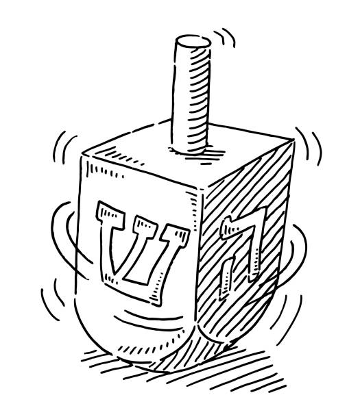 Dreidel Spinning Top Jewish Toy Drawing Hand-drawn vector drawing of a Dreidel Spinning Top Jewish Toy. Black-and-White sketch on a transparent background (.eps-file). Included files are EPS (v10) and Hi-Res JPG. game stock illustrations