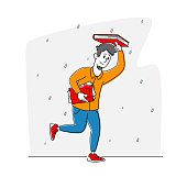 Drenched Passerby Male Character Running at Rain without Umbrella, Man Covering Head with Book from Cold Water Pouring from Sky, Wet Rainy Autumn Day or Spring Weather. Linear Vector Illustration