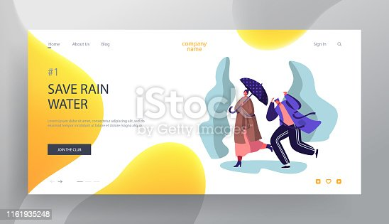 Drenched Passerby People Walking Against Wind and Rain on Street, Cold Water Pour From Sky, Wet Rainy Autumn or Spring Weather Website Landing Page, Web Page. Cartoon Flat Vector Illustration, Banner