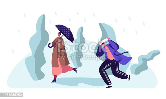 Drenched Passerby People Walking Against Wind and Rain, Woman with Umbrella, Man Covering Head from Cold Water Pouring From Sky, Wet Rainy Autumn or Spring Weather. Cartoon Flat Vector Illustration