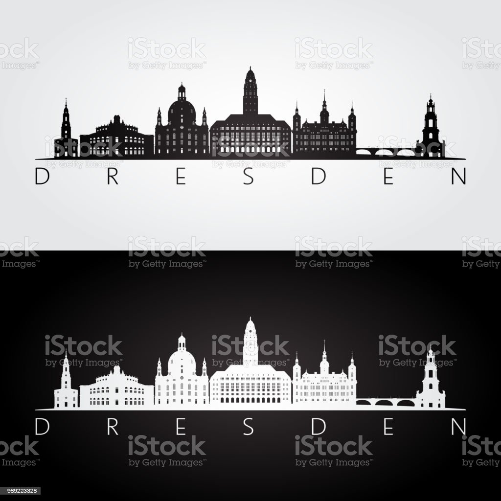 Künstlerisch Skyline Dresden Referenz Von And Landmarks Silhouette, Black And White Design,