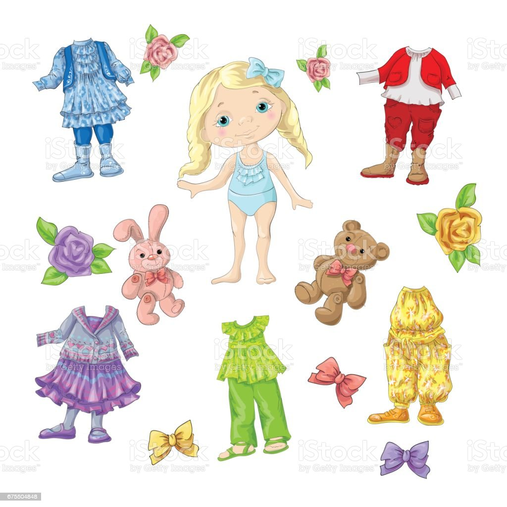 Dress a cute doll with sets of clothes with accessories and toys. dress a cute doll with sets of clothes with accessories and toys – cliparts vectoriels et plus d'images de art libre de droits