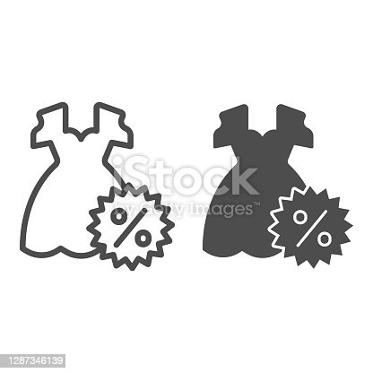 istock Dress and discount percentage line and solid icon, Black Friday concept, Sale of woman cloth sign on white background, Discount sale off and dress icon in outline style. Vector graphics. 1287346139