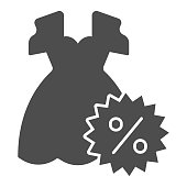 istock Dress and discount percentage solid icon, Black Friday concept, Sale of woman cloth sign on white background, Discount sale off and dress icon in glyph style. Vector graphics. 1287344135