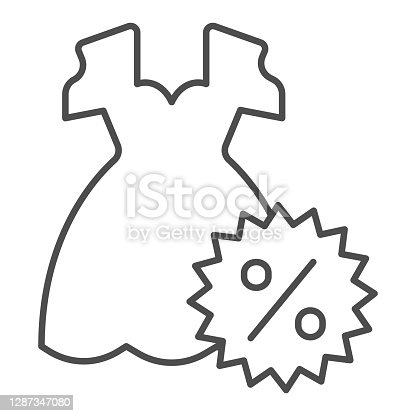 istock Dress and discount percentage thin line icon, Black Friday concept, Sale of woman cloth sign on white background, Discount sale off and dress icon in outline style. Vector graphics. 1287347080