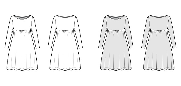 Dress babydoll technical fashion illustration with long sleeves, oversized body, knee length A-line skirt, boat neck