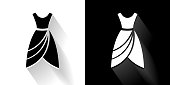 Dress  Black and White Icon with Long Shadow. This 100% royalty free vector illustration is featuring the square button and the main icon is depicted in black and in white with a black icon on it. It also has a long shadow to give the icons more depth.